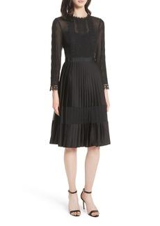 Ted Baker London Lace Trim Pleated Midi Dress