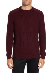 Ted Baker London Laichi Trim Fit Cable Crewneck Sweater