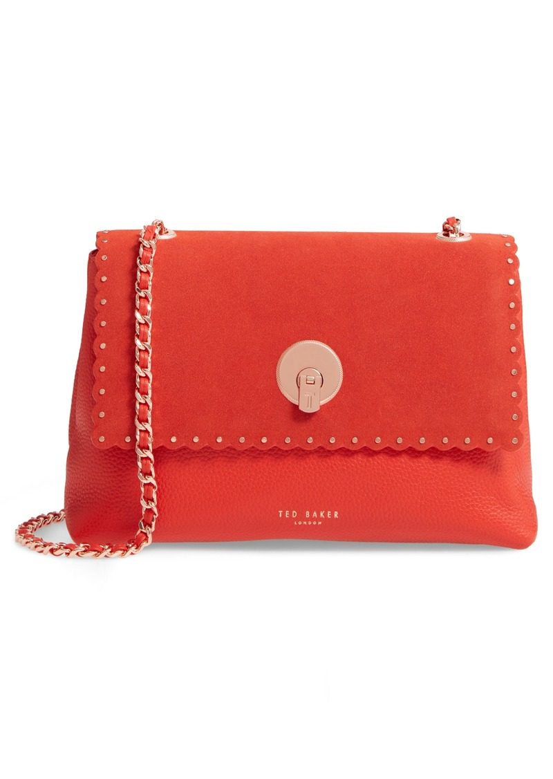 Ted Baker London Sultane Studded Circle Lock Leather & Suede Bag