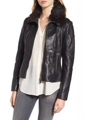 Ted Baker London Leather Jacket with Detachable Genuine Shearling