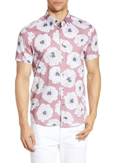 Ted Baker London Leave Slim Fit Flower Print Short Sleeve Button-Down Sport Shirt