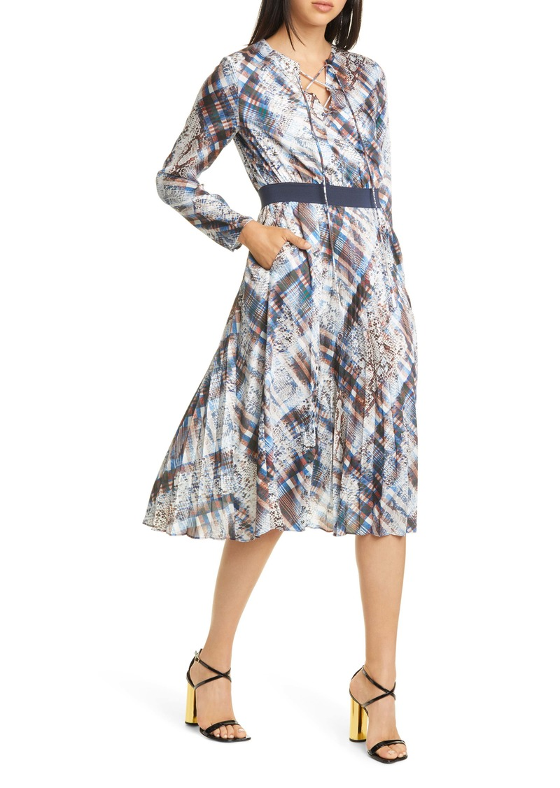 Ted Baker London Lilis Quartz Long Sleeve Pleated Dress