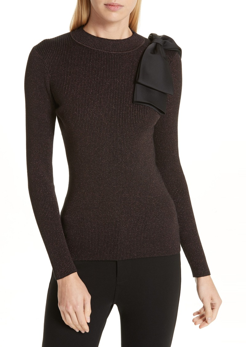 Ted Baker Ted Baker London Lizziia Bow Trim Shimmer Sweater