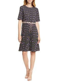 Ted Baker London Lloyd II Geo Print Pleated Dress