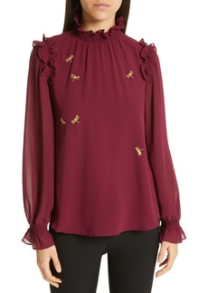 Ted Baker London Lohla Sugar Plum Embroidered Blouse