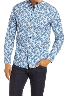 Ted Baker London Losterl Floral Slim Fit Button-Up Stretch Cotton Shirt