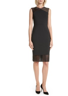 Ted Baker London Lucette Mesh Detail Body Con Dress