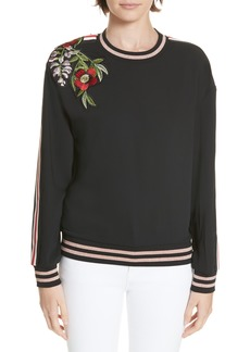Ted Baker London Maddeyy Embroidered Trim Top