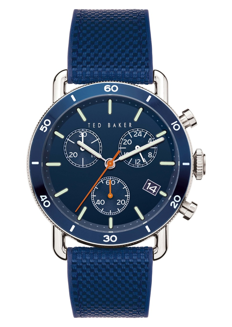 Ted Baker London Magarit Chronograph Silicone Strap Watch, 48mm