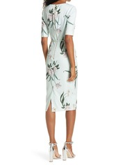 Ted Baker London Magieyy Floral Notched Neck Body-Con Dress