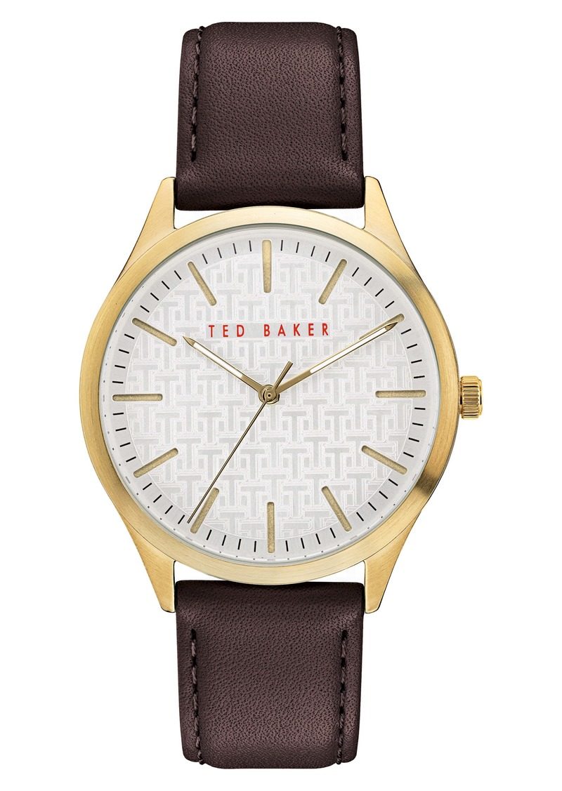 Ted Baker London Manhatt Leather Strap Watch, 40mm