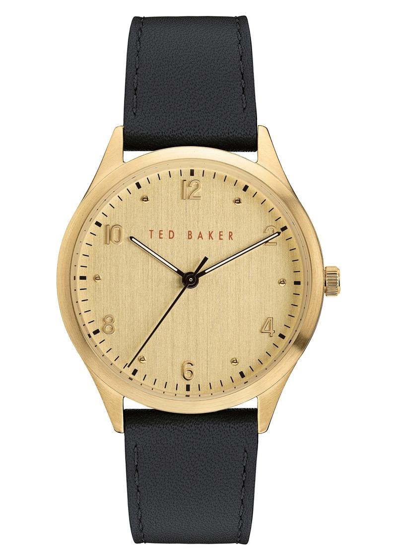 Ted Baker London Manhatt Leather Strap Watch, 40mm