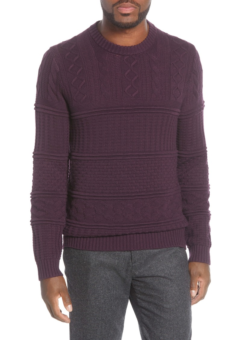 Ted Baker London Marbal Mixed Stitch Crewneck Sweater