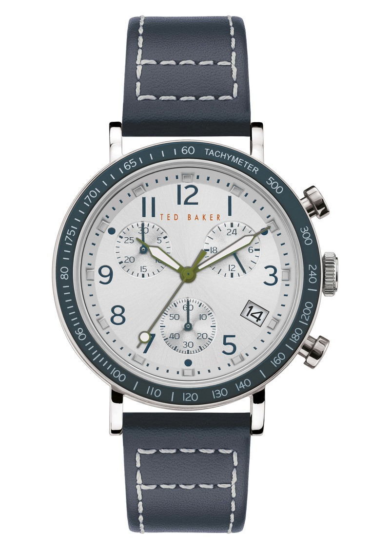 Ted Baker London Marteni Chronograph Leather Strap Watch, 42mm