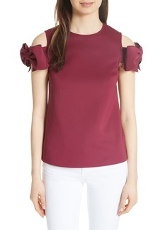 Ted Baker London Mendoll Bow Sleeve Cold Shoulder Top