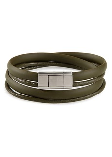 Ted Baker London Mera Leather & Rubber Wrap Bracelet