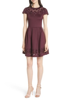 Ted Baker London Mesh & Lace Trim Skater Dress