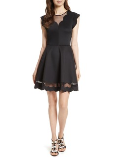Ted Baker London Mesh Panel Scallop Skater Dress