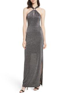 Ted Baker London Metallic Knit Maxi Dress