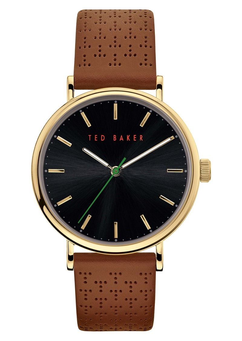 Ted Baker London Mimosaa Leather Strap Watch, 41mm