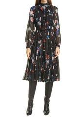 Ted Baker London Naniro Floral Pleated Long Sleeve Midi Dress