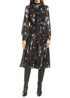 Ted Baker London Naniro Floral Pleated Long Sleeve Midi Dress