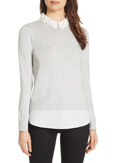 Ted Baker London Nansea Floral Collar Tiered Hem Sweater