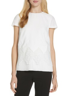 Ted Baker London Nardiya Lace & Pleat Hem Top