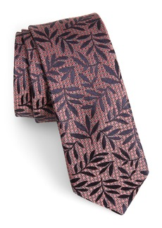 Ted Baker London Natte Leaf Silk Skinny Tie