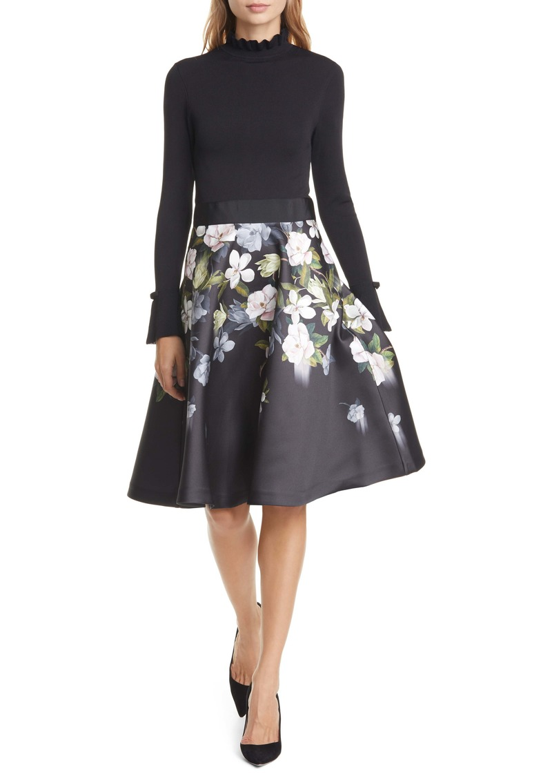 Ted Baker London Nerida Opal Mixed Media Long Sleeve Fit & Flare Dress