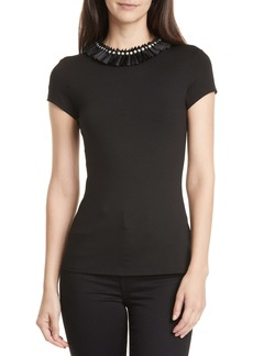 Ted Baker London Nikita Embellished Neck Fitted Top