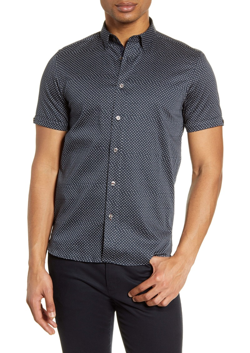 Ted Baker London Norook Slim Fit Stretch Short Sleeve Button-Up Shirt