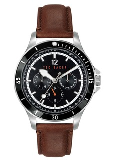 Ted Baker London Northn Leather Strap Watch, 43mm
