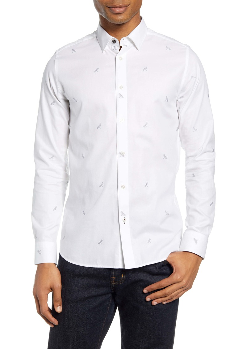 Ted Baker London Nowhy Dragonfly Print Button-Up Shirt
