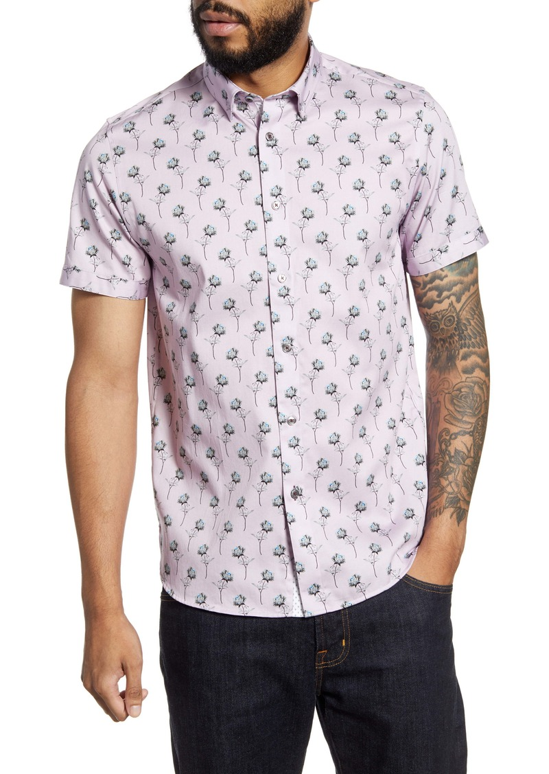 Ted Baker London Nowords Floral Short Sleeve Button-Up Shirt