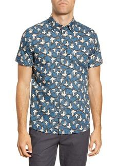 Ted Baker London Oliver Slim Fit Bird Print Short Sleeve Button-Up Shirt