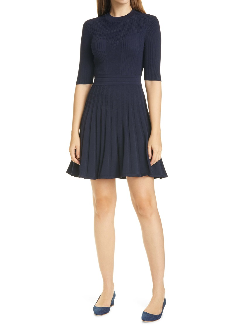 Ted Baker London Olivinn Mix Stitch Fit & Flare Sweater Dress