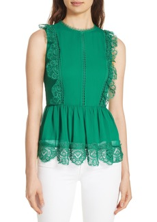 Ted Baker London Omarri Lace Detail Sleeveless Peplum Top