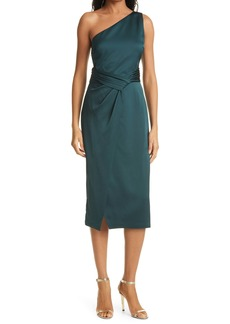 Ted Baker London One-Shoulder Pleated Waist Satin Sheath Dress