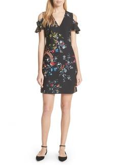 Ted Baker London Opulent Fauna Print Cold Shoulder Dress