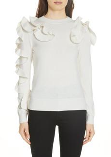 Ted Baker London Pallege Frill Sleeve Wool Blend Sweater