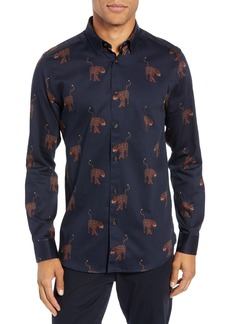 Ted Baker London Pantha Slim Fit Panther Print Sport Shirt