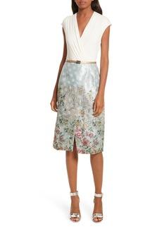 Ted Baker London Patchwork Faux Wrap Midi Dress