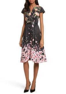 Ted Baker London Peach Blossom Faux Wrap Midi Dress