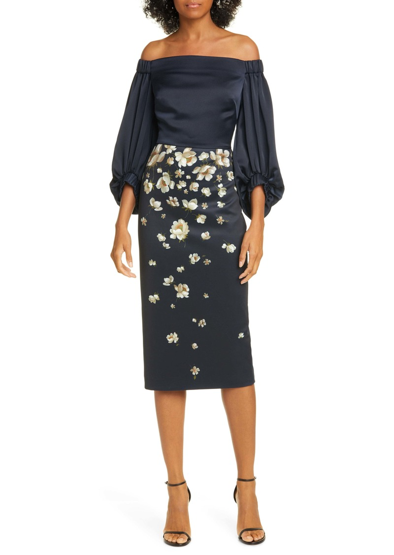 Ted Baker London Pearl Floral Off the Shoulder Midi Dress