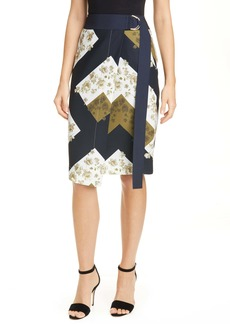 Ted Baker London Pearl Floral Print Wrap Skirt