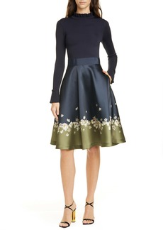 Ted Baker London Pearl Mixed Media Long Sleeve Fit & Flare Dress