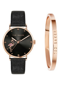 Ted Baker London Phylipa Crystal Flamingo Leather Strap Watch Gift Set, 37mm