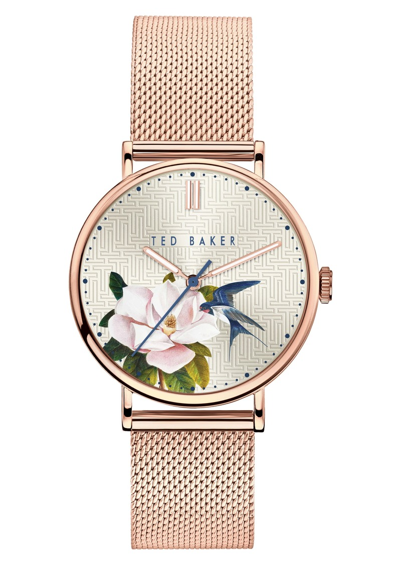 Ted Baker London Phylipa Flowers Mesh Strap Watch, 37mm
