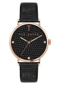 Ted Baker London Phylipa Hug Reptile Embossed Leather Strap Watch, 37mm